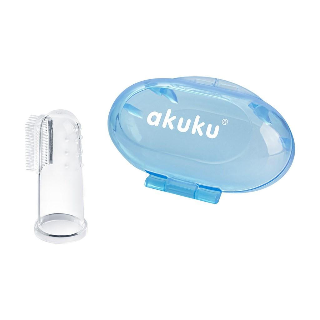 První zubní kartáček s pouzdrem Akuku - modrá
