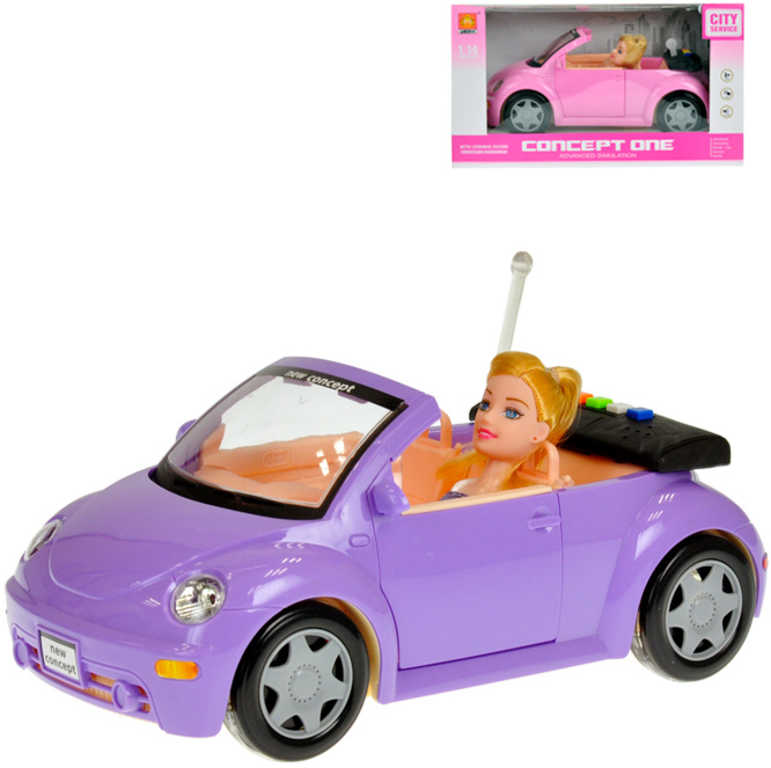 Auto kabriolet 28cm set s panenkou 23cm na baterie Světlo Zvuk různé barvy