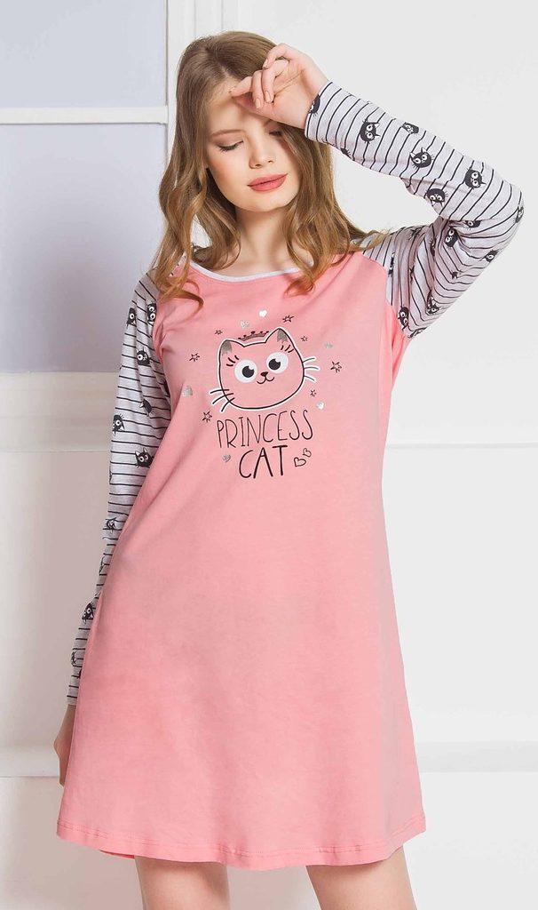 Dámská noční košile s dlouhým rukávem Princess cat - tmavě šedá