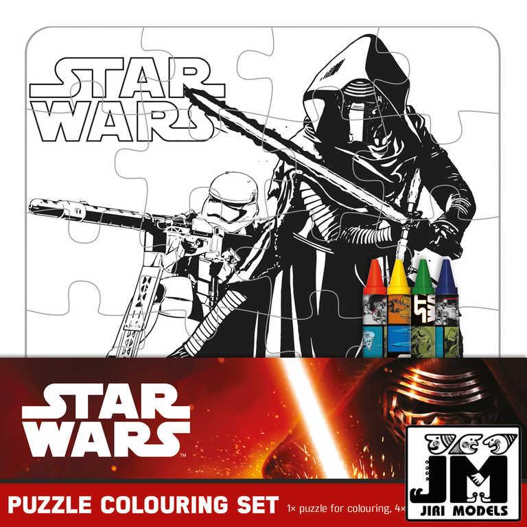 JIRI MODELS Omalovánky puzzle s voskovkami Star Wars (Hvězdné Války)