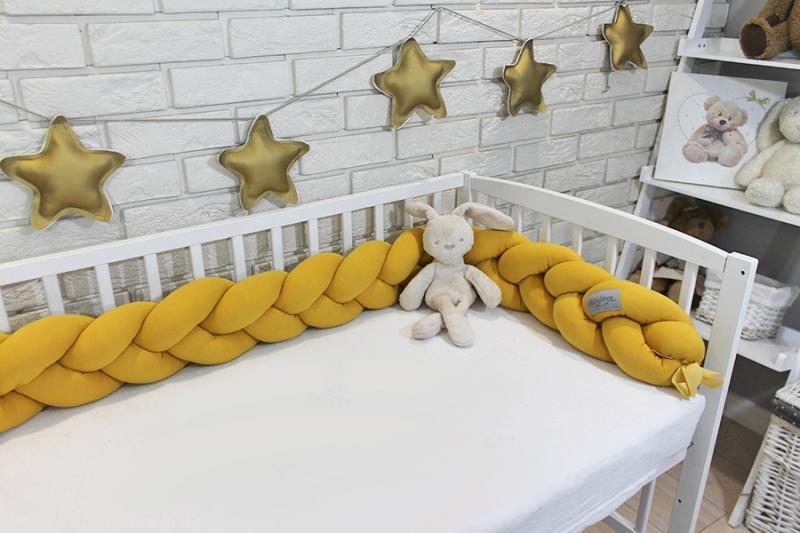 Mantinel Baby Nellys pletený cop - hořčicový