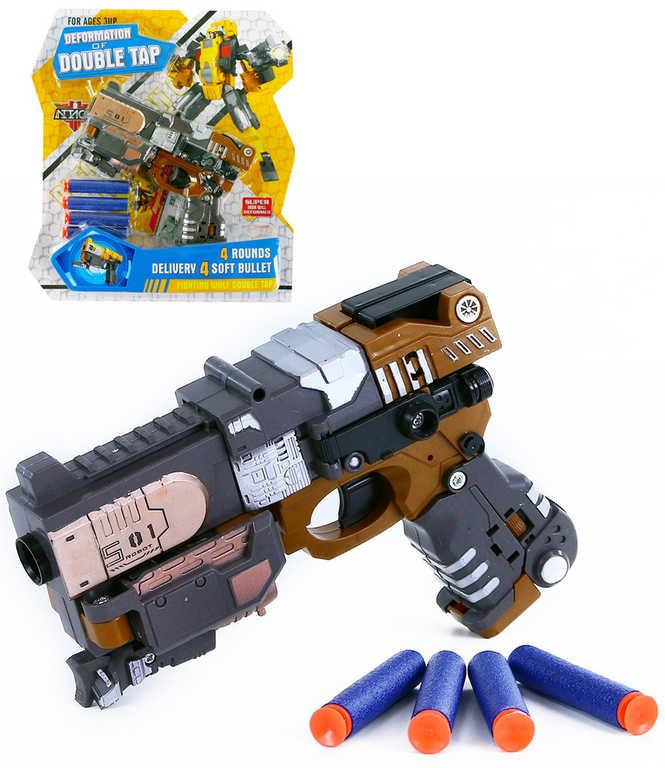 Robot dětská pistole rozložitelná s transformací set s pěnovými náboji plast