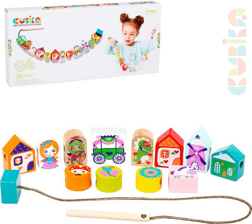 CUBIKA DŘEVO Baby Pohádka navlékací set 12 dílků provlékačka pro miminko