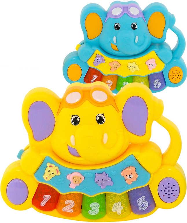 Baby pianko slon se zvířátky na baterie 5 kláves Zvuk různé barvy pro miminko