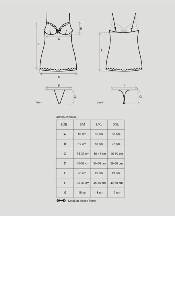 Košilka Obsessive Adoria chemise - Černá - L/XL