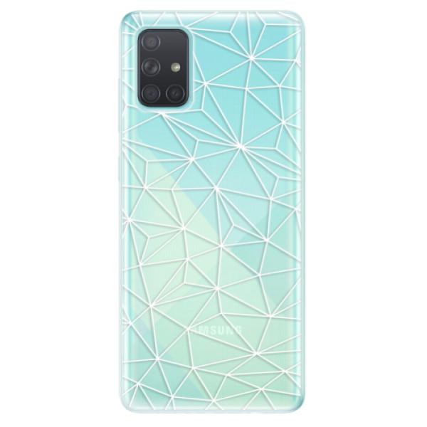 Odolné silikonové pouzdro iSaprio - Abstract Triangles 03 - white - Samsung Galaxy A71