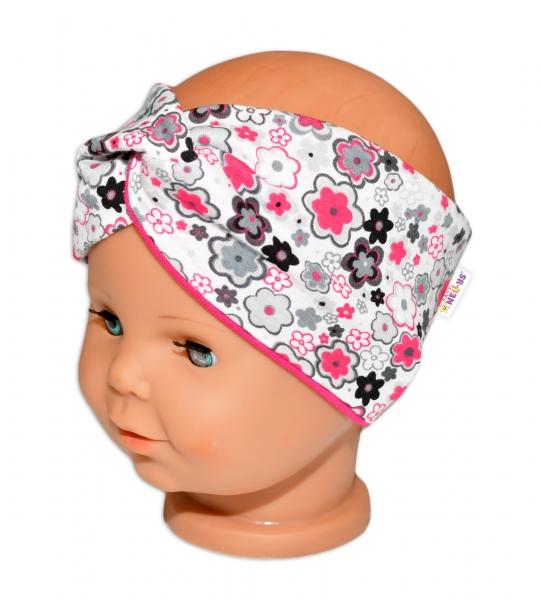 Baby Nellys Hand Made Jarní, bavlněná čelenka - dvouvrstvá, květinky