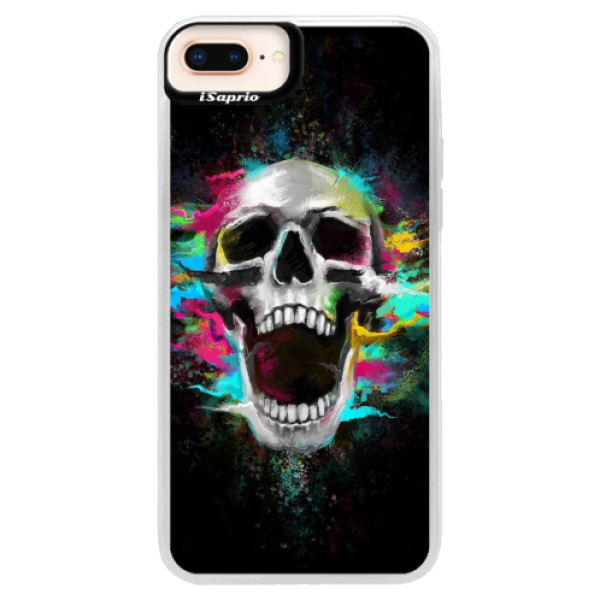 Neonové pouzdro Pink iSaprio - Skull in Colors - iPhone 8 Plus