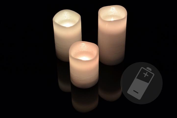Dekorativní LED sada - 3 voskové svíčky - bílá