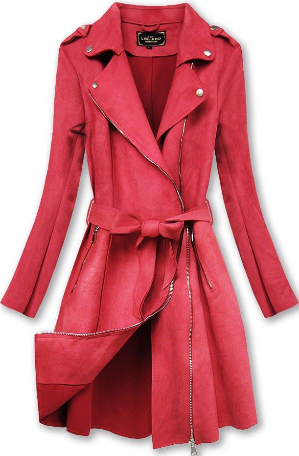 Červený dámský semišový kabát (6004BIG)