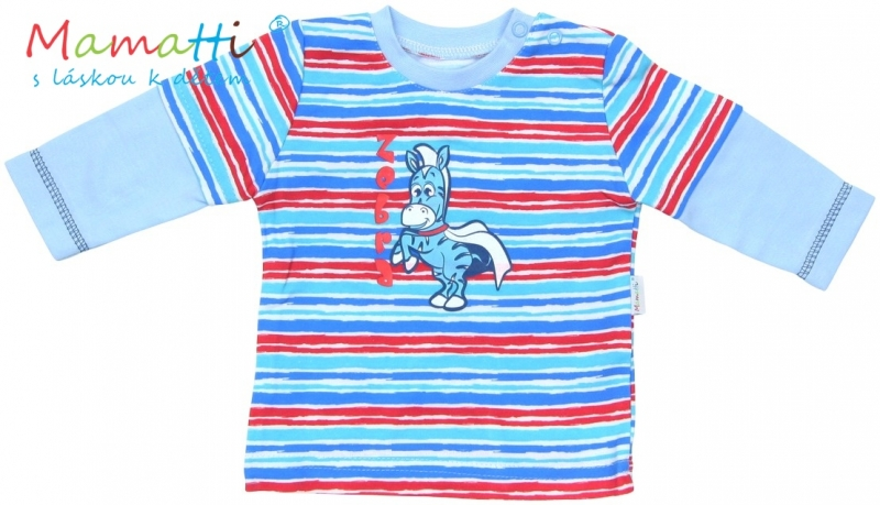 Tričko dlouhý rukáv Mamatti - ZEBRA - sv. modré/barevné pružky - 74 (6-9m)