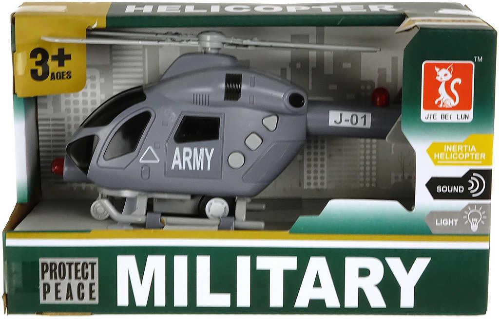Army helikoptéra plastová na baterie vojenský vrtulník Světlo Zvuk v krabici