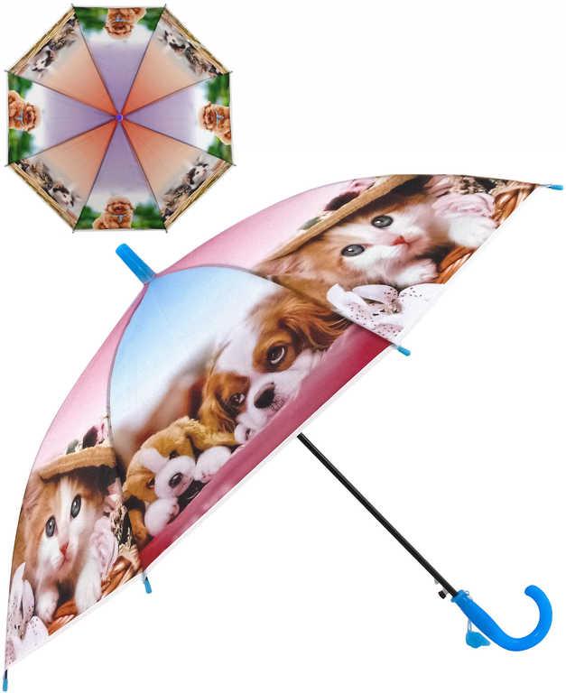 Deštník dětský automatický potisk kočky a psi set s píšťalkou 3 druhy