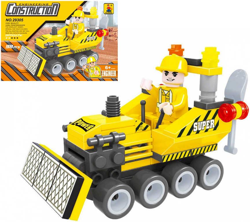 AUSINI Stavebnice STAVBA buldozer sada 98 dílků + 1 figurka řidiče plast