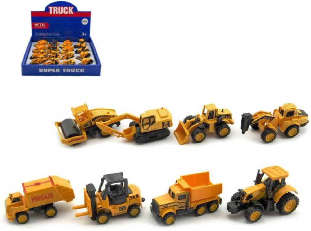 Auto stavební pracovní 6cm kovové oranžové volný chod 8 druhů