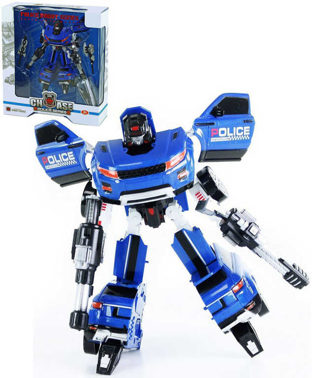 Auto policejní modré s transformací robot policie plast