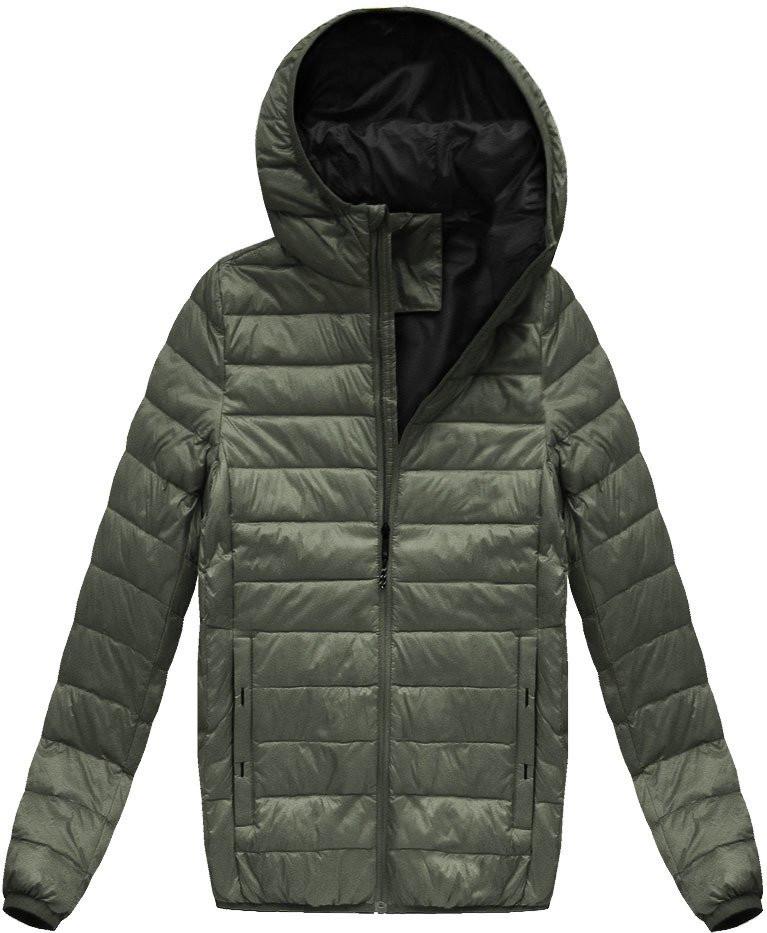 Khaki pánská bunda s přírodní vycpávkou (5023) - Khaki/M