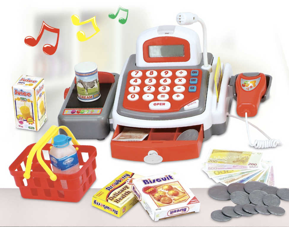 Pokladna dětská registrační kasa se skenerem a penězi na baterie plast