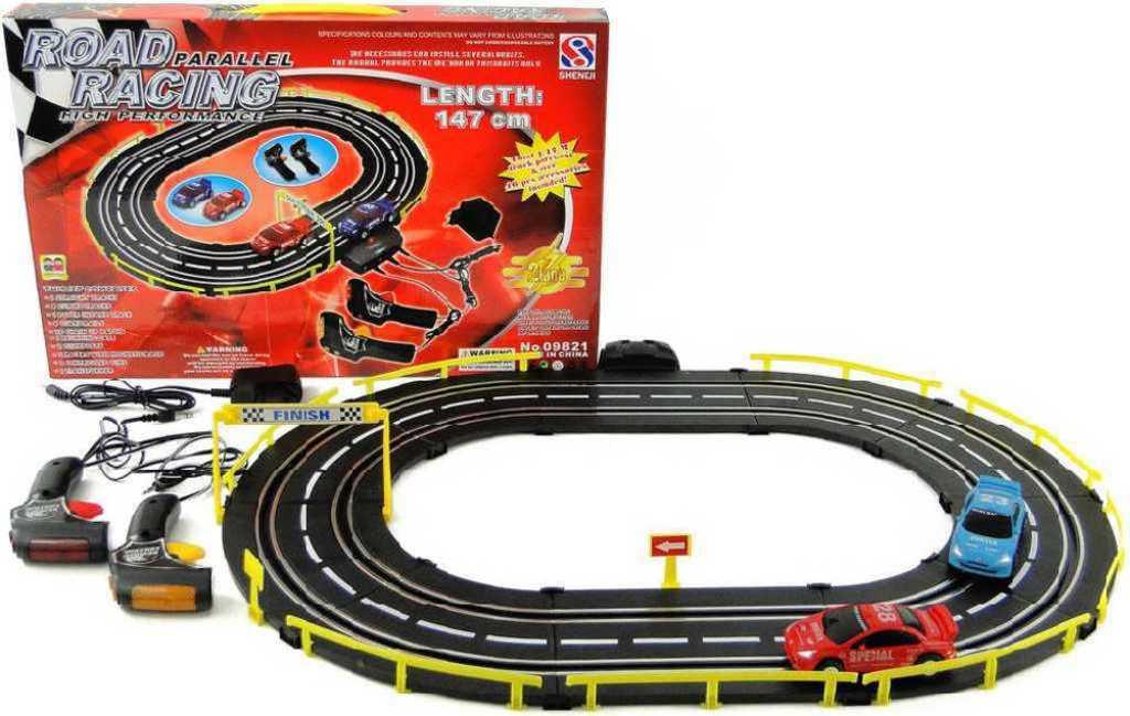 Autodráha Road Racing 147cm 2 dráhy 2 auta set s adaptérem v krabici