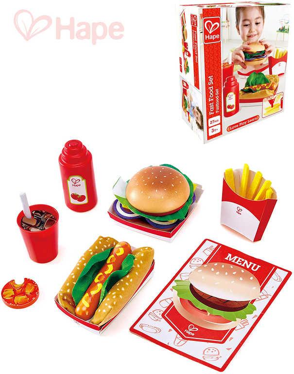 HAPE DŘEVO Fast Food set makety potravin 27 dílků rychlé občerstvení