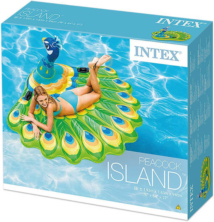INTEX Páv nafukovací s úchyty 193x163cm dětská matrace na vodu 57250