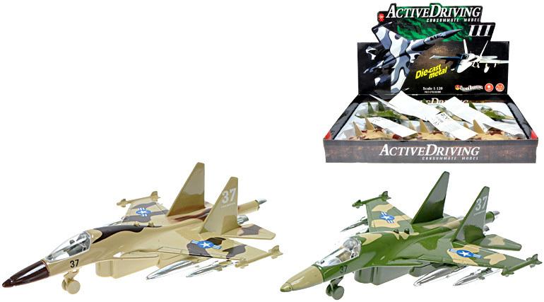 Letadlo vojenské 19 cm kov 2 barvy Stíhačka Světlo + Zvuk
