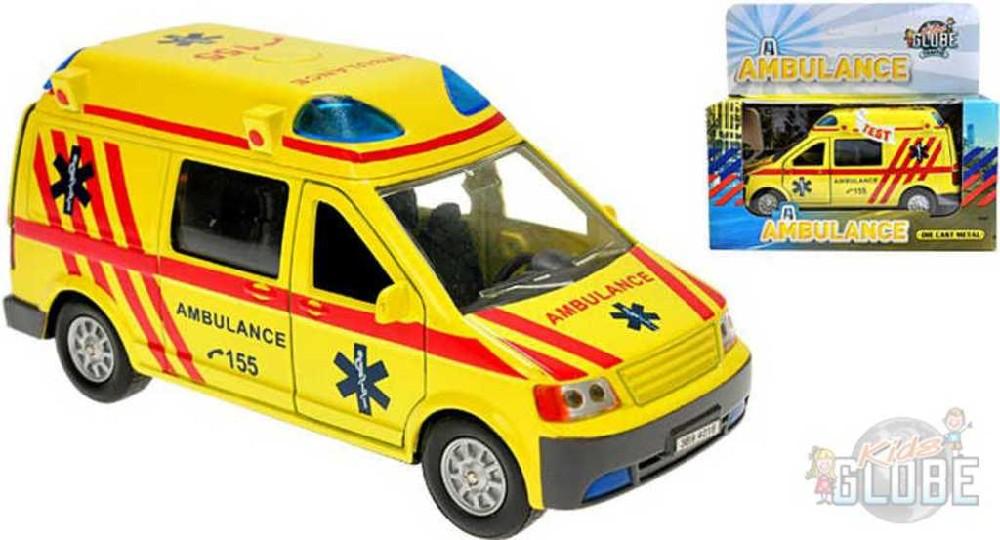 KIDS GLOBE Ambulance auto kovové 14 cm PB sanitka se zvukem a světlem
