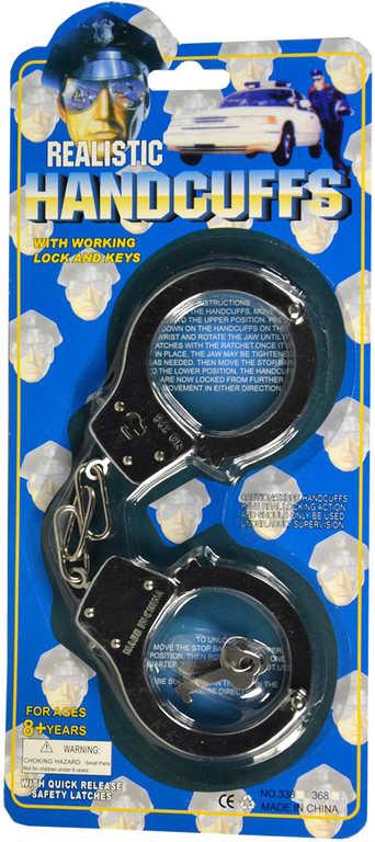 Pouta dětská policejní 17 cm set s klíčky kov na kartě
