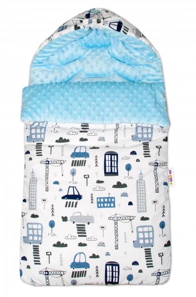 Bavlněný spací vak/fusák Baby Nellys, minky, Městečko, 45 x 95 cm - bílý/sv. modrý