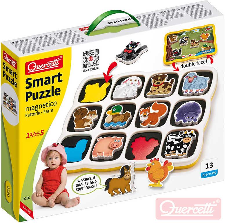 QUERCETTI Baby Smart Puzzle magnetické vkládací Farma 13 dílků oboustranné 2v1