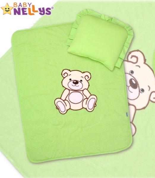 Baby Nellys 2-dílná sada do kočárku jersey Medvídek Teddy Bear - zelená