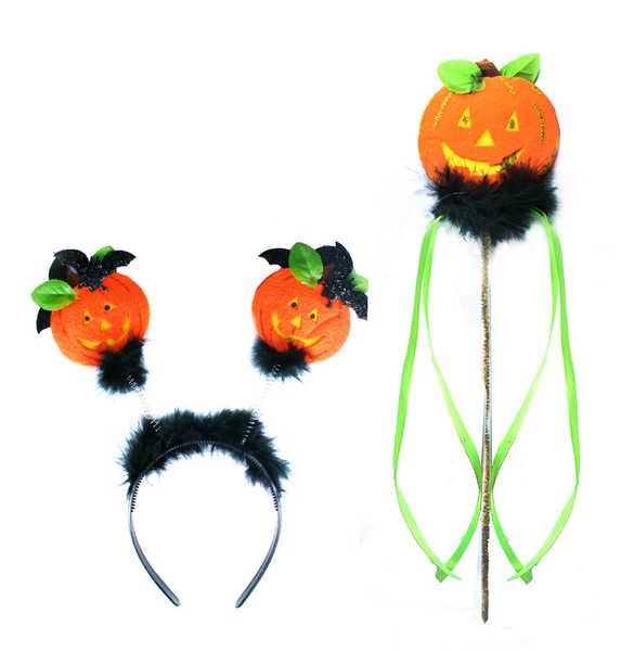 KARNEVAL Sada Halloween dýně čelenka + hůlka KARNEVALOVÝ DOPLNĚK