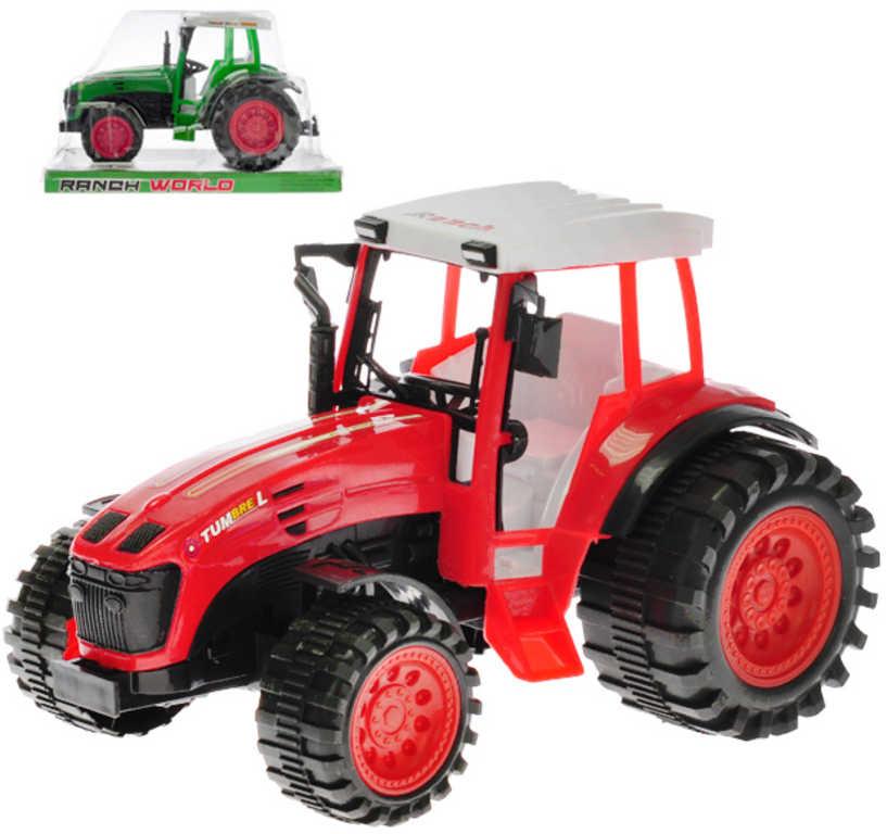 Traktor plastový 25cm na setrvačník 2 barvy v krabičce