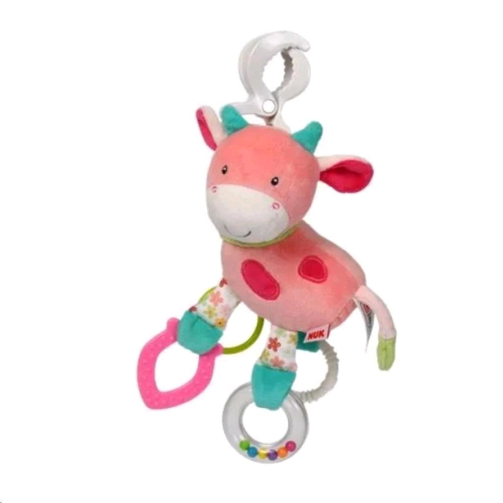 Happy Farm Hračka s klipem Nuk kravička - růžová