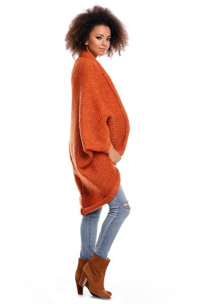 Delší svetřík/pončo ELEN - oranžový