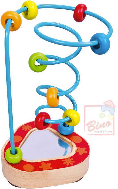 BINO DŘEVO Baby labyrint motorický se zrcátkem