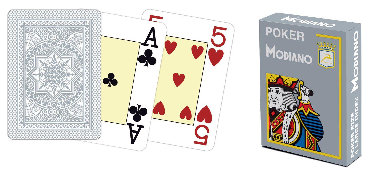 Modiano 4 rohy 100% plastové karty - šedé
