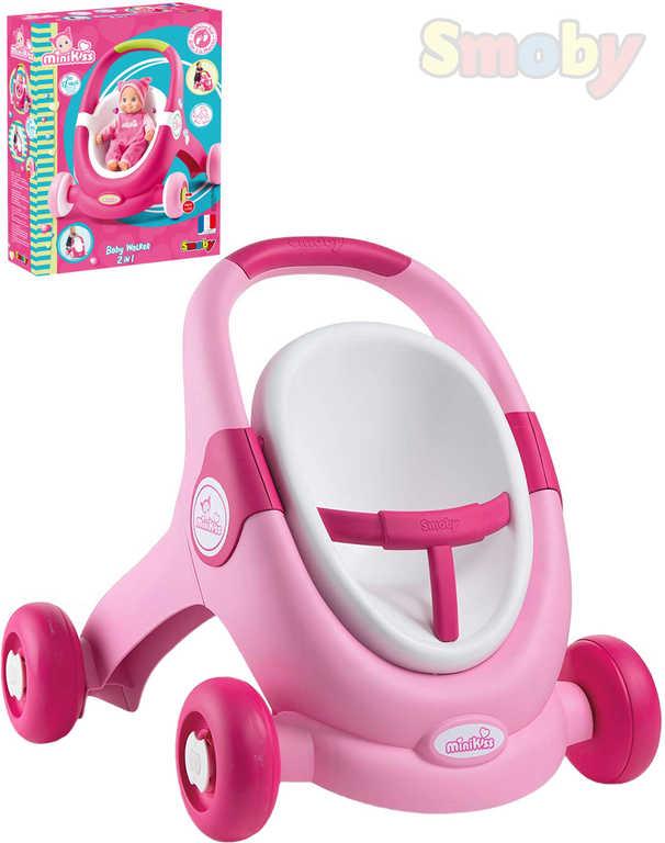 SMOBY Baby Walker Minikiss 3v1 chodítko kočárek sedačka pro panenku růžová