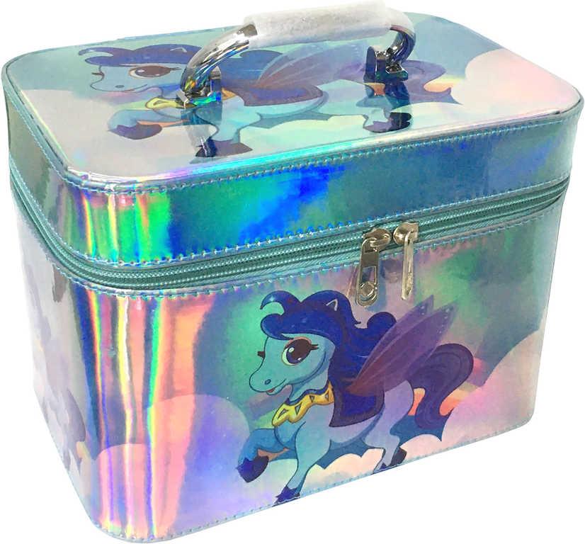 Kufřík dětský kosmetický set 3ks šperkovnice modrá koník s ouškem na zip 3v1
