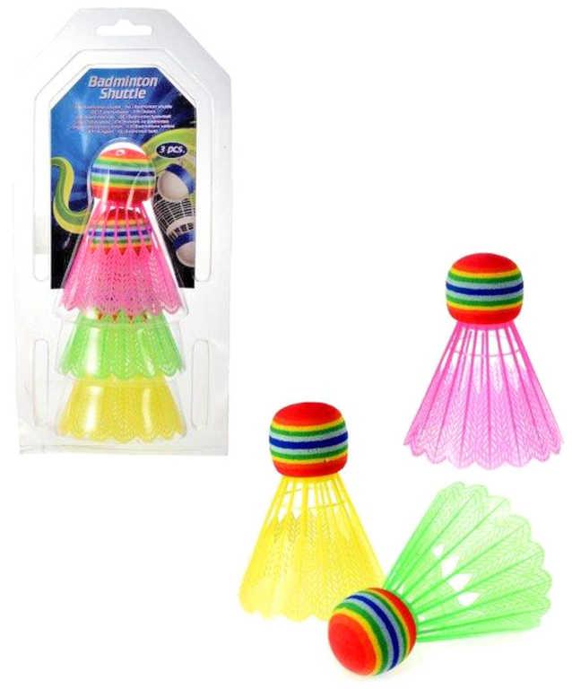 Košíčky barevné míčky na badminton set 3ks v tubě plast
