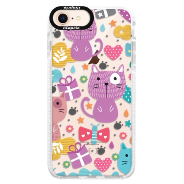 Silikonové pouzdro Bumper iSaprio - Cat pattern 01 - iPhone 8