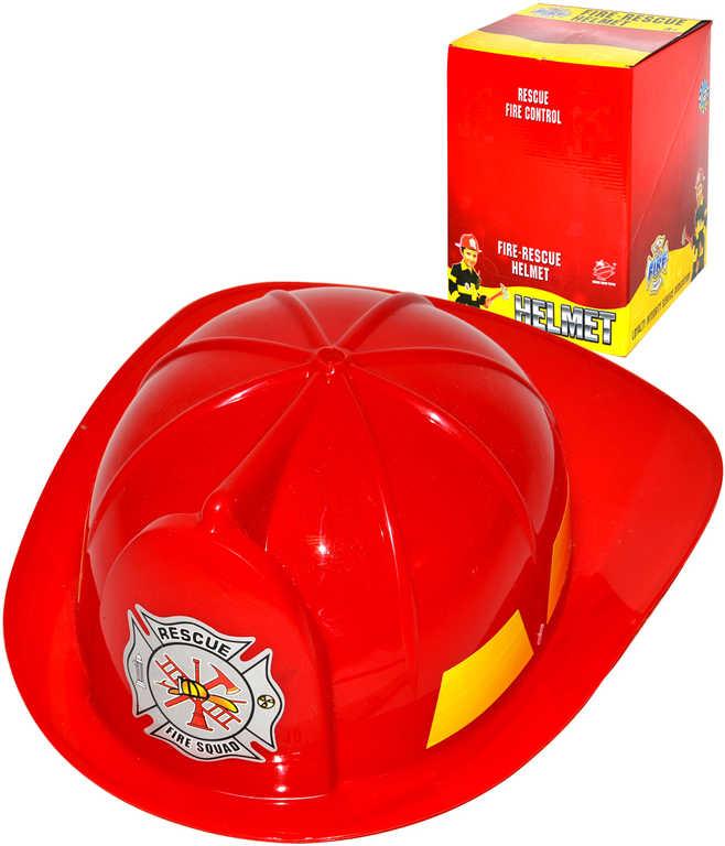 Helma dětská hasičská 29cm červená malý hasič plast