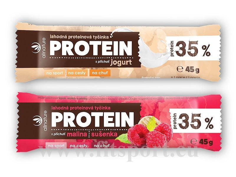 Allnature Proteinová tyčinka 35% 45g-malina-susenka