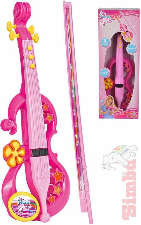 SIMBA Housle elektrické 43cm růžové holčičí na baterie 8 melodií plast Zvuk