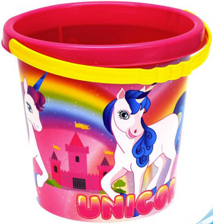 Baby kbelík na písek jednorožec 17cm holčičí růžový s obrázkem Unicorn