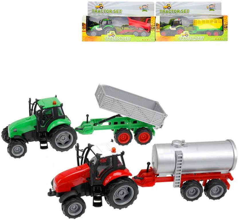 KIDS GLOBE Traktor kov set s vlečkou na baterie Světlo Zvuk různé druhy