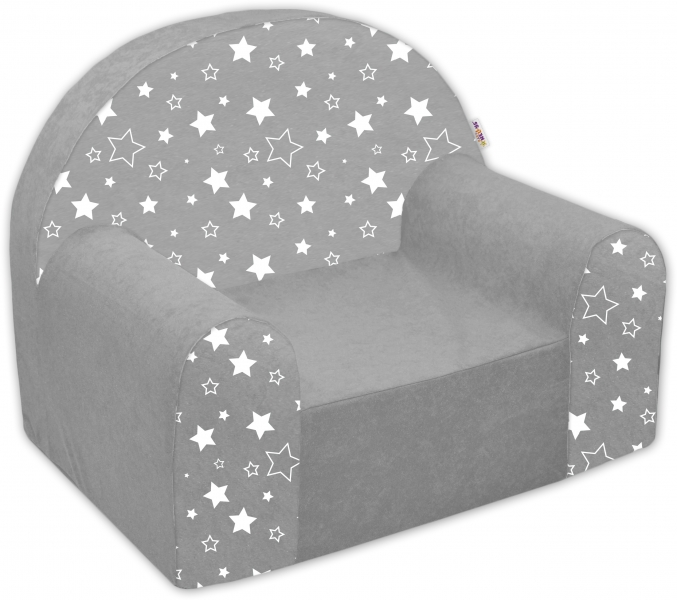 Náhradní potah na dětské křeslo Nellys - Magic stars - bílošedé hvězdičky
