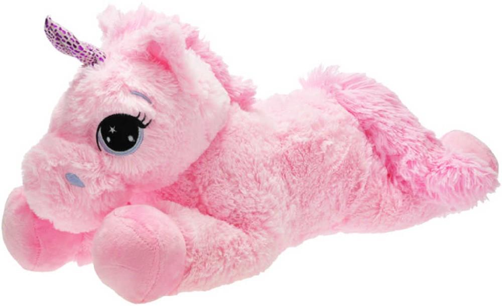 PLYŠ Jednorožec růžový 60 cm ležící