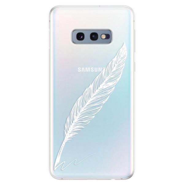 Odolné silikonové pouzdro iSaprio - Writing By Feather - white - Samsung Galaxy S10e