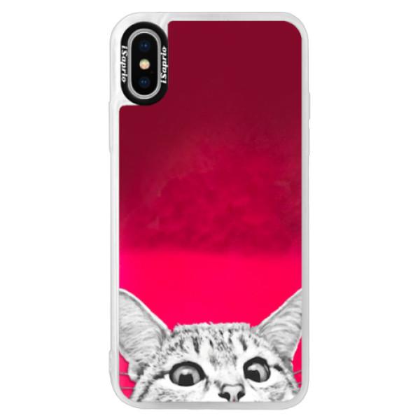 Neonové pouzdro Pink iSaprio - Cat 02 - iPhone XS
